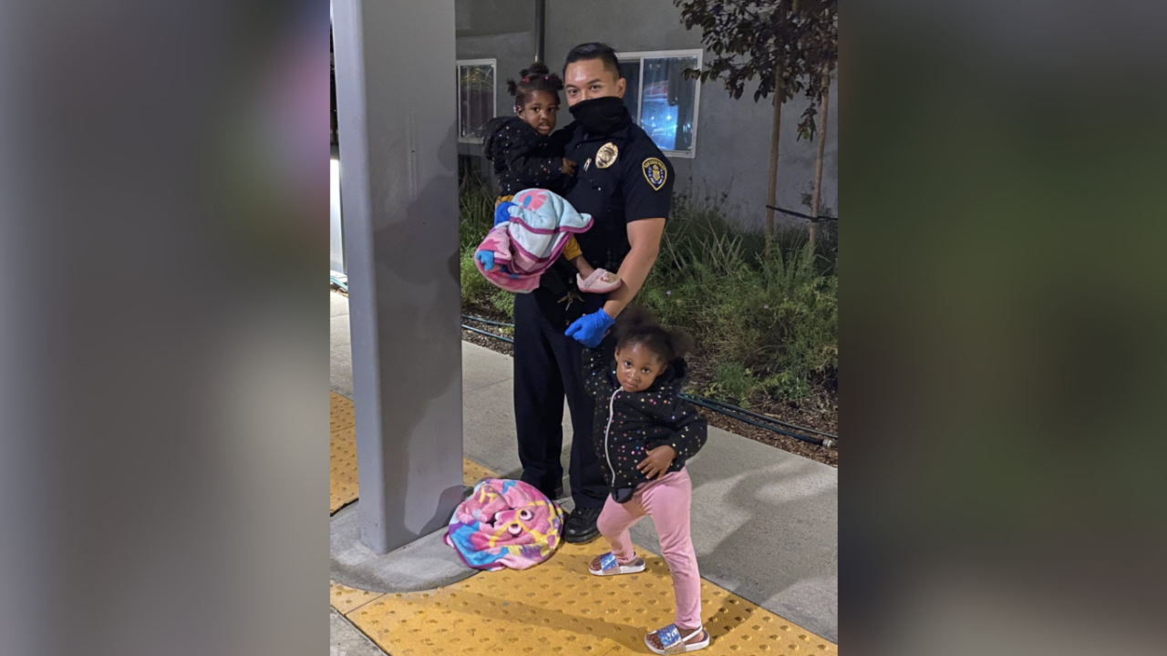 Police babysit for hospitalized man