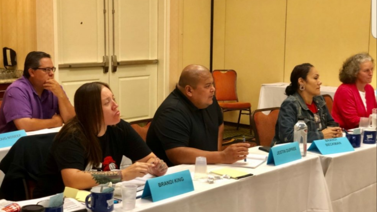 Photo posted by Montana Attorney General Tim Fox's Twitter account on August 10 of the Missing Indigenous Persons Task Force. The two representatives on the left in front, Brandi King of the Fort Belknap Tribal Community and Jestin Dupree of the Fort Peck Assiniboine and Sioux Tribes, withdrew from the task force Monday.