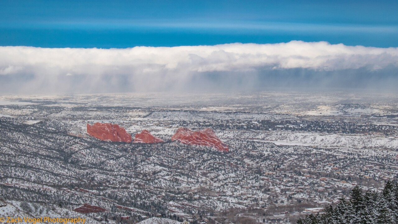 Snow Storm leaving Colorado Springs and Garden of the Gods