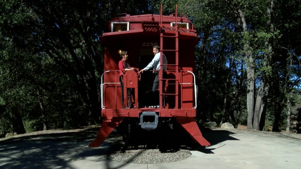 For sale: The little red caboose in the woods