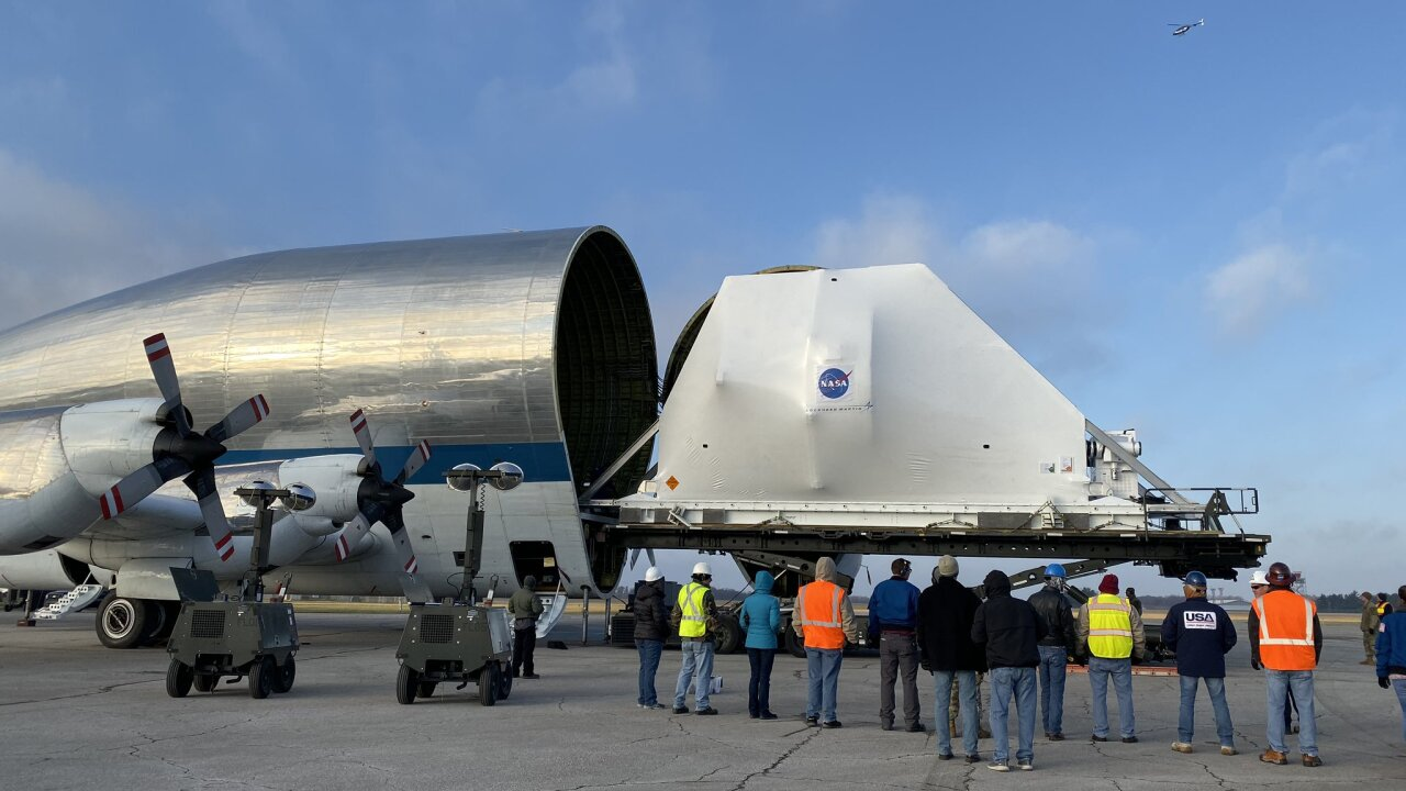 The Orion Spacecraft is out of the Super Guppy.