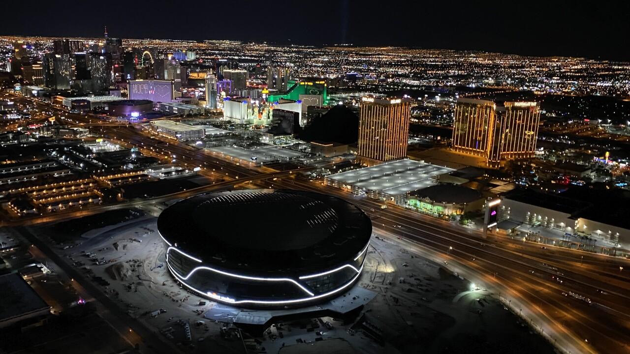 Las Vegas Raiders Allegiant Stadium night aerial