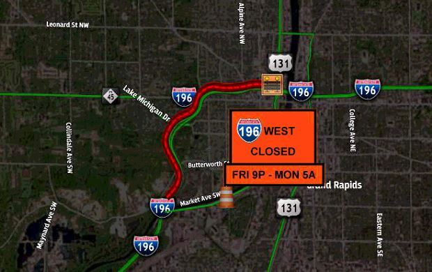Map 196 WB closure 131 to Market Wknd.JPG
