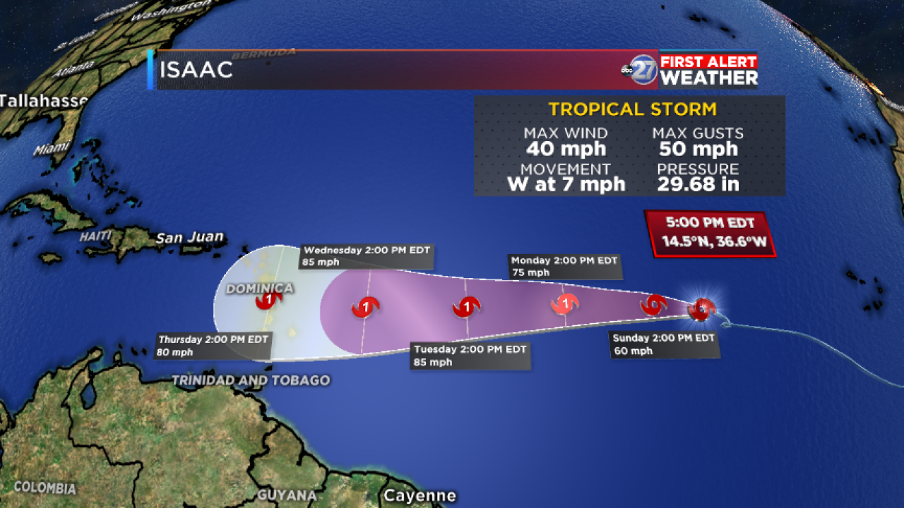 Tropical Storm Isaac track (09/08/2018)