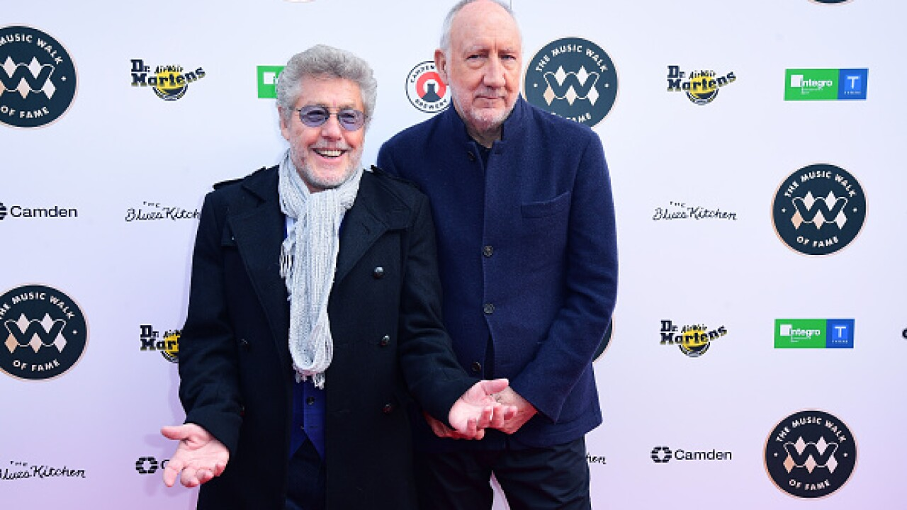 The Who's Pete Townshend and Roger Daltrey during the Music Walk of Fame founding stone and first recipients unveilings in Camden, London. (Ian West/PA Images via Getty Images)