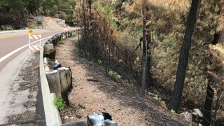Mt. Lemmon Highway damage from Bighorn Fire
