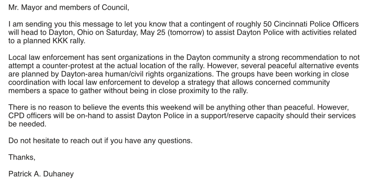 Duhaney's complete email to Council.