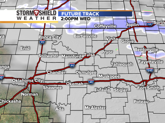 Future track radar shows timeline of when snow and precipitation will come into northeast Oklahoma