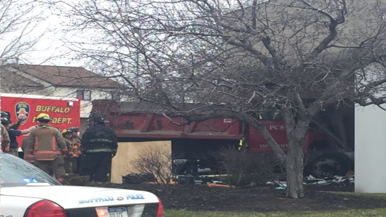 Dump truck slams into downtown Buffalo church