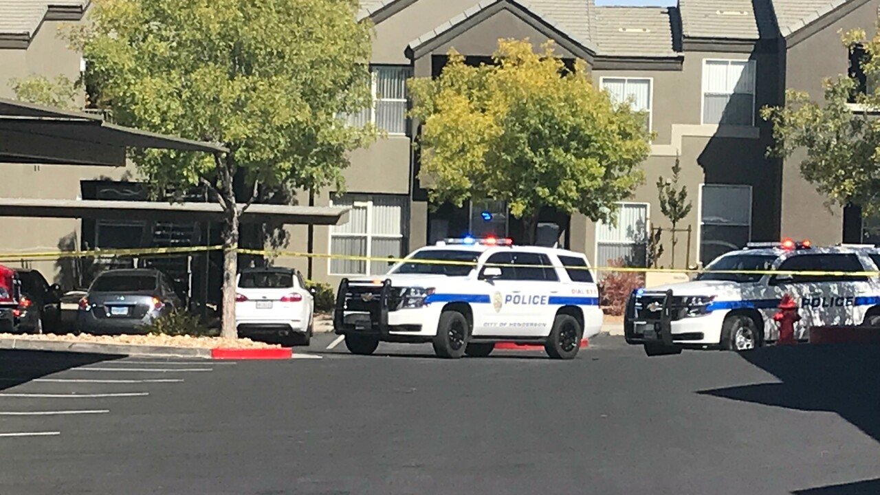 These are photos taken on Oct. 21, 2019 at the Equestrian apartment complex located near Horizon Ridge Parkway and Eastern in Henderson following a police-involved shooting