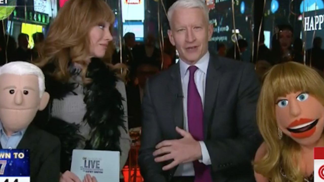 Anderson Cooper, Kathy Griffin ring in the New Year with puppets