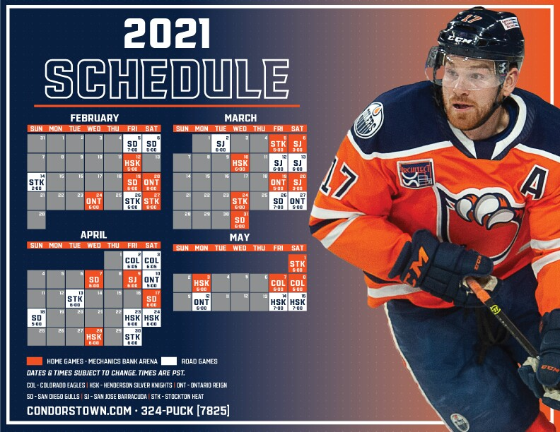 Condors 2021 Schedule
