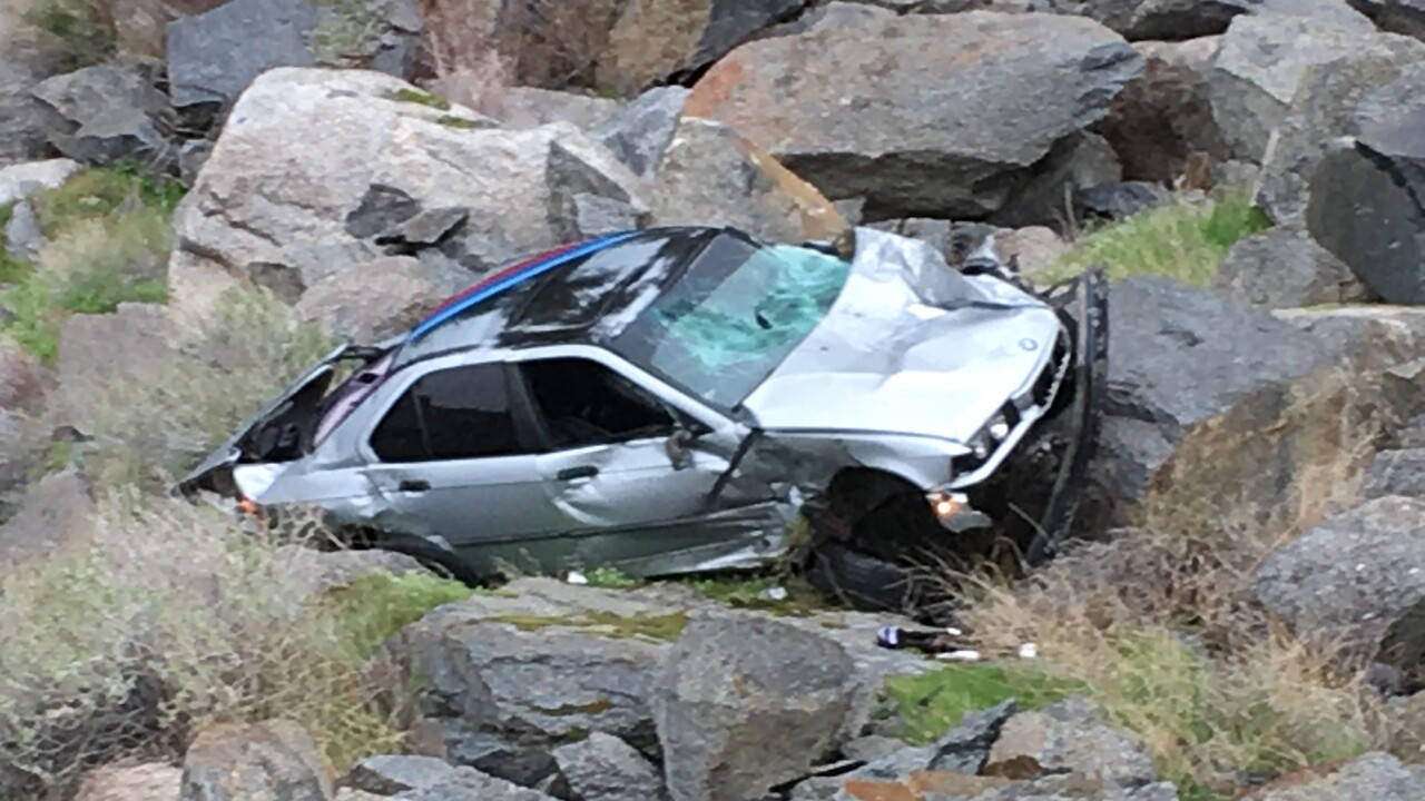 Crash In Kern River Canyon Alongside Highway 178