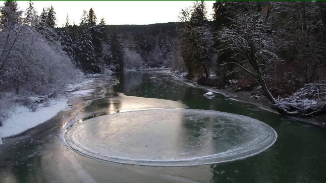Rare ice circle forms in Washington State river