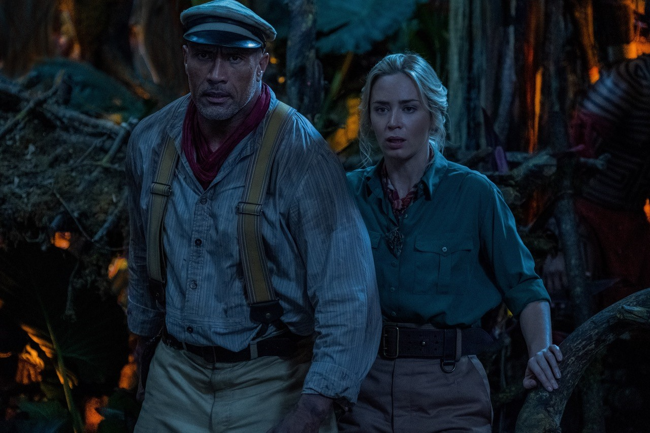 Dwayne Johnson and Emily Blunt in scene from 'The Jungle Cruise'