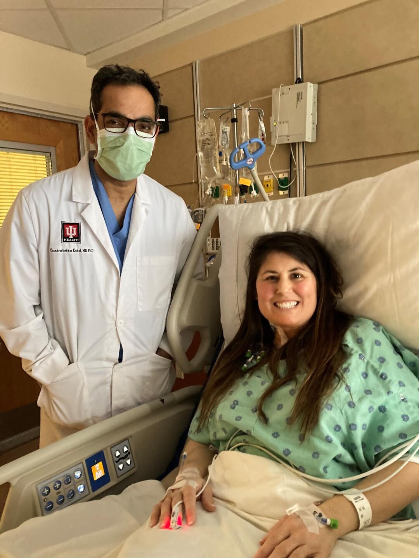 Stephanie with Dr. Kubal. CREDIT: IU HEALTH