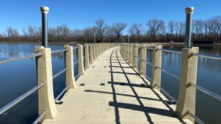 Floating boardwalk example. Standing bear lake