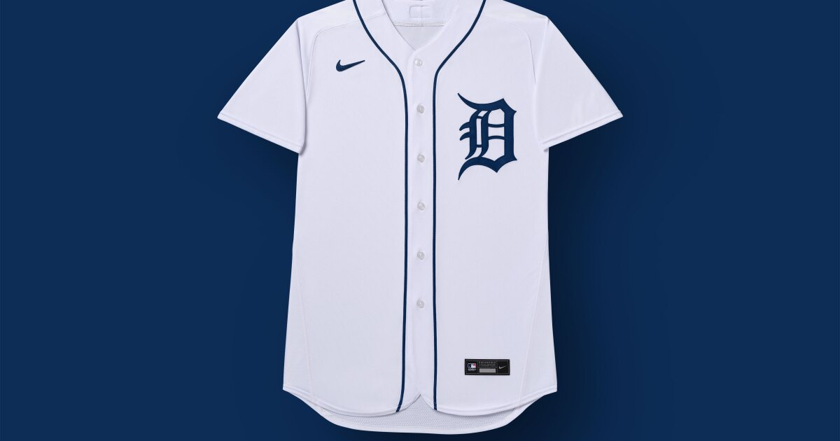 The Tigers released a photo of new Nike uniforms with swoosh on the jersey