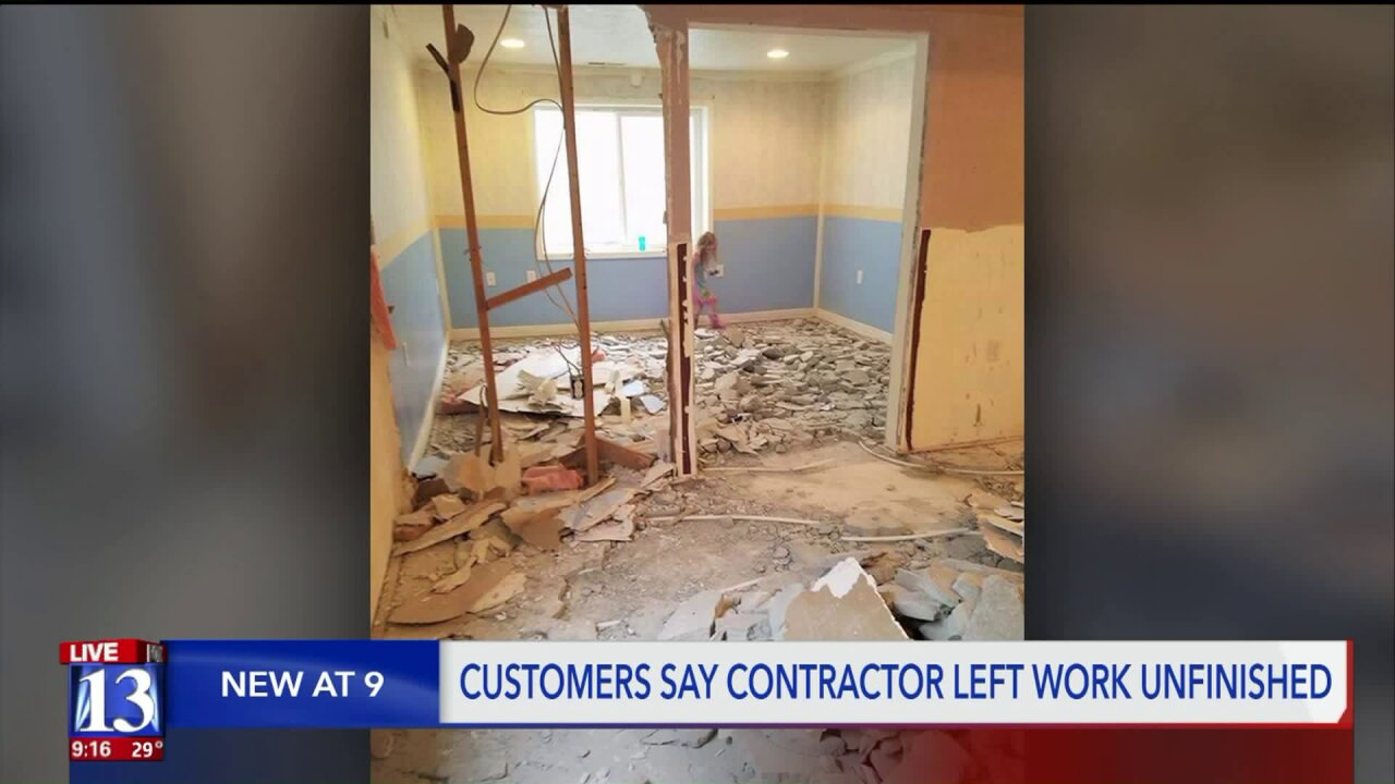 Customers fed up after Davis/Weber contractor charges thousands, skips out on work