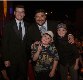 Kiko Chicas, Cooper Hawes and Adam Montiel posing with the 2019 Wish Grantee Erik Biven (Photo credit: Heraldo Family Photo)