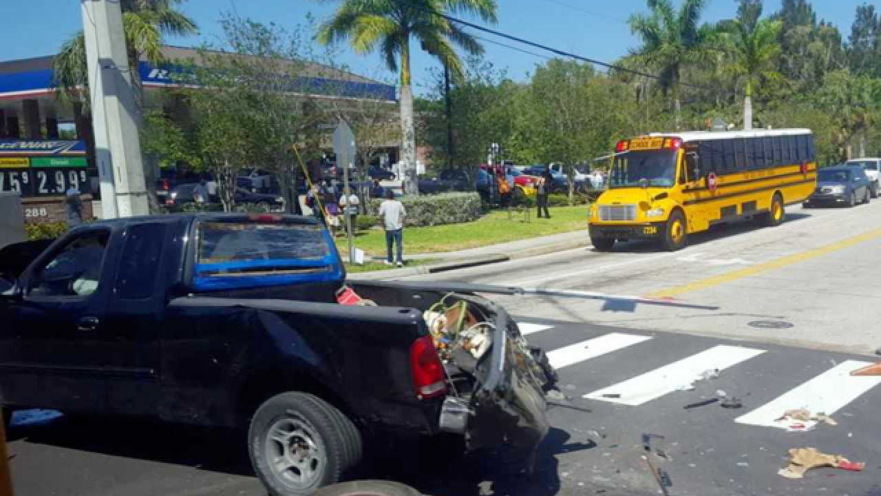 Truck and school bus collide