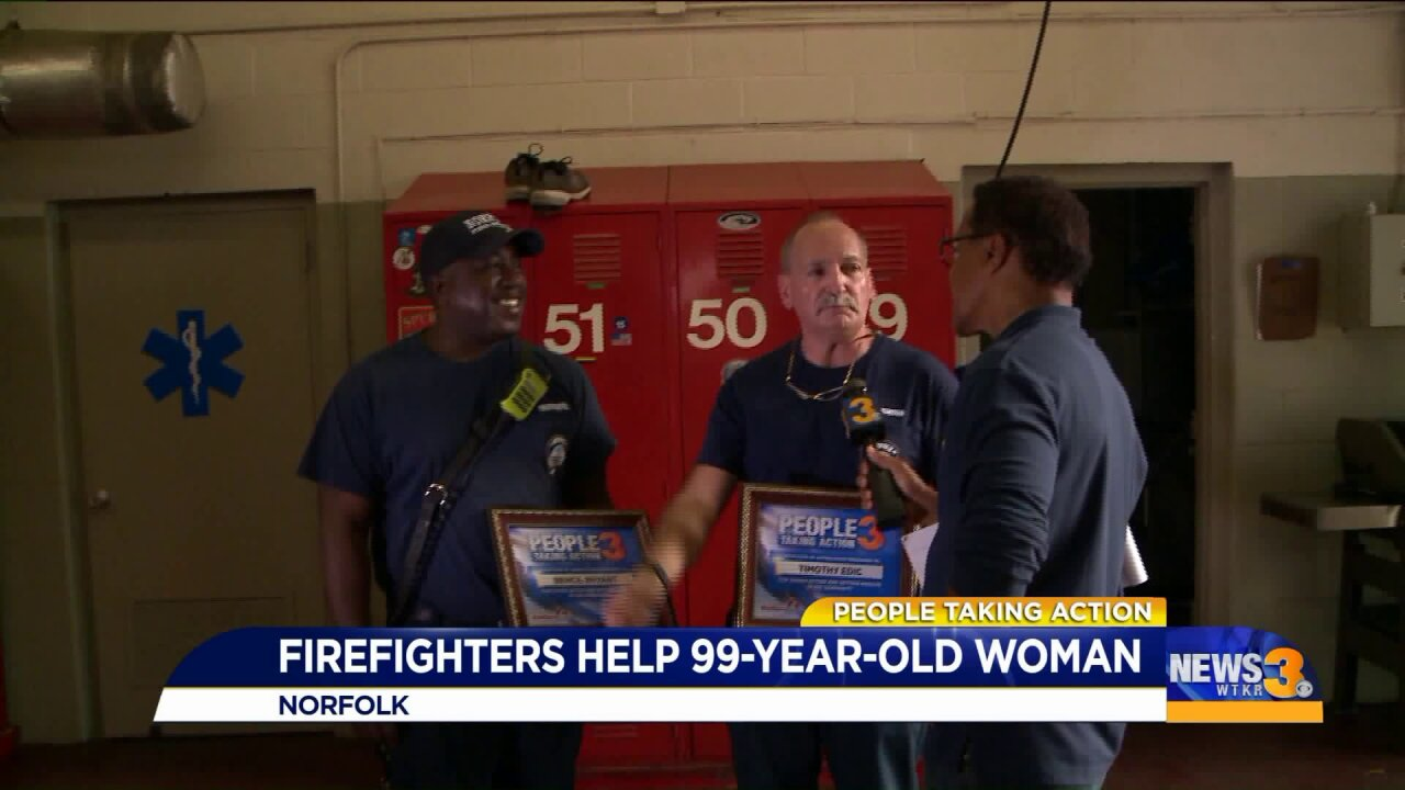 People Taking Action: Local firefighters honored for helping 99-year-old woman with yard work!