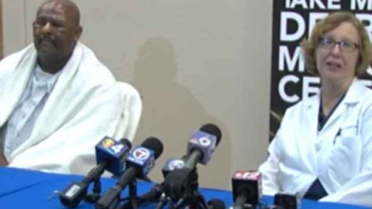 LIVE: Injured 'fire breather' news conference
