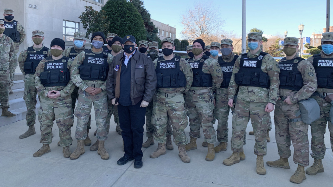 Gov. Hogan thanks members of the Md. National Guard who responded to protests at the U.S. Capitol