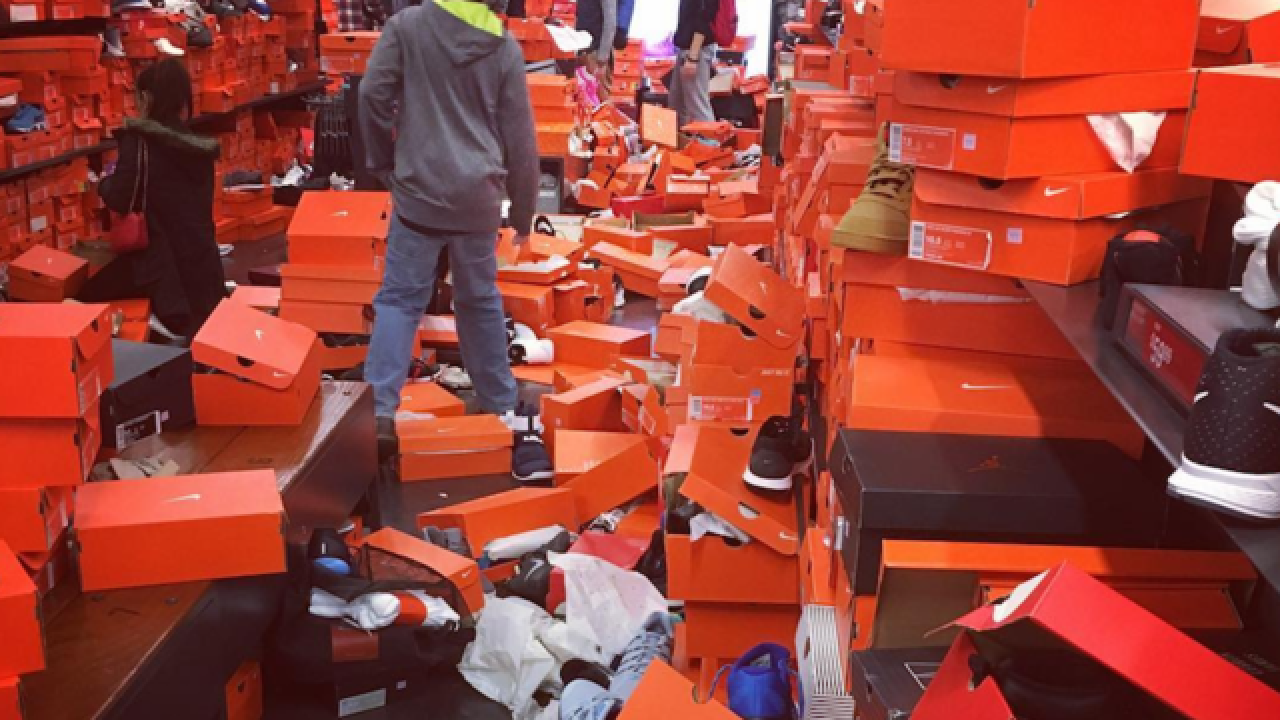Earthquake or Black Friday? Shoppers leave Nike store trashed