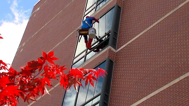 Superhero window-washers bring smiles to kids at Akron Children's Hospital