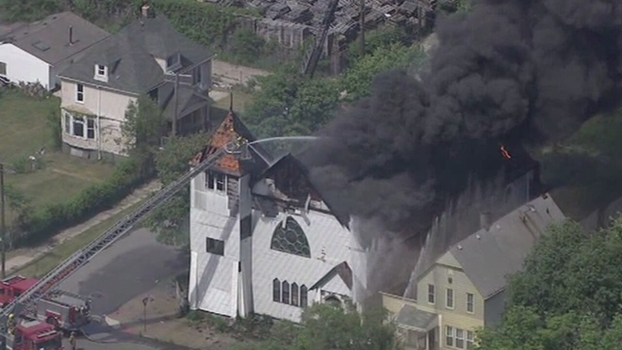Firefighters battle large fire at vacant church