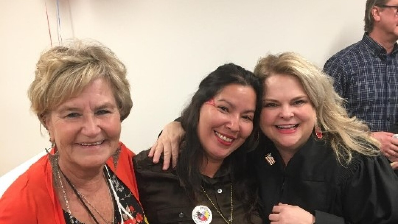 Amanda Boyer with Yellowstone Co. District Judge Mary Jane Knisely and CAMO Prosecutor Vicky Calendar after Boyer graduated from Yellowstone Co. Treatment Court Wednesday