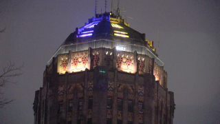 Buffalo City Hall lit purple and gold honoring the late Kobe Bryant