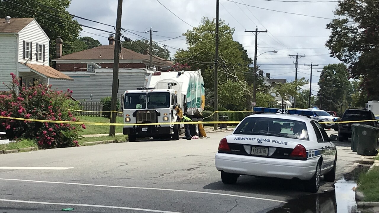 Woman dies after being hit by trash truck in NewportNews