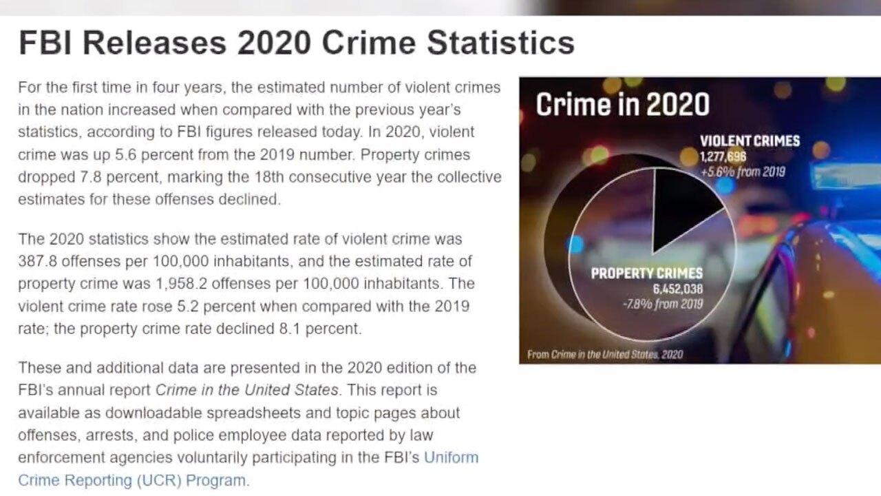 FBI 2020 crime stats