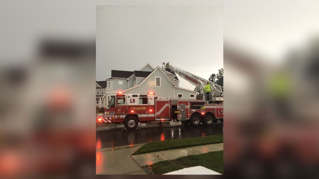 Lightning strike causes attic fire in Chesapeake home