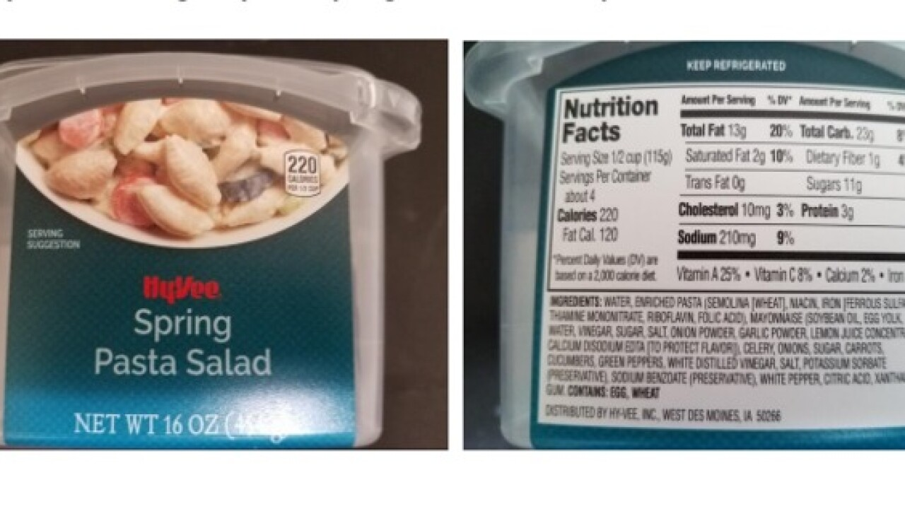 Hy-Vee pasta recalled after reported illnesses