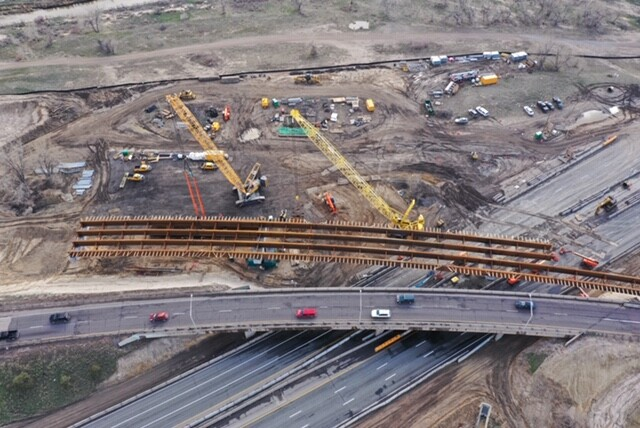 Aerial view of flyover construction zone