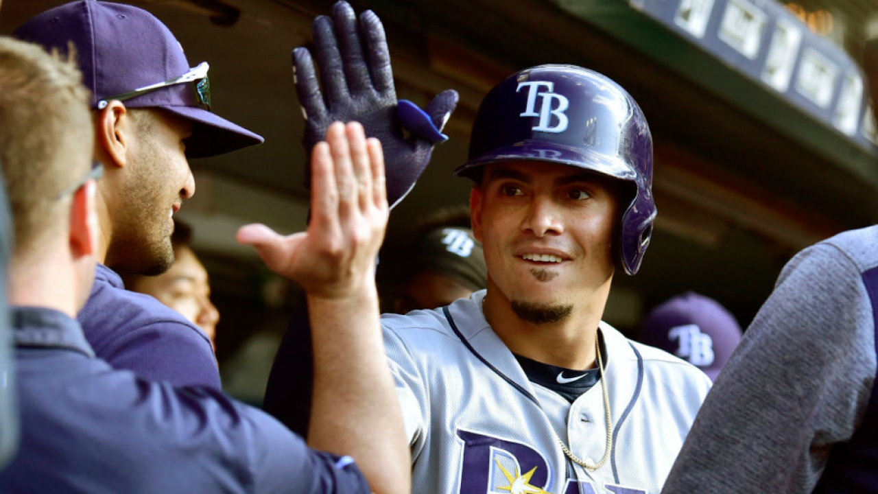 Willy Adames celebrates