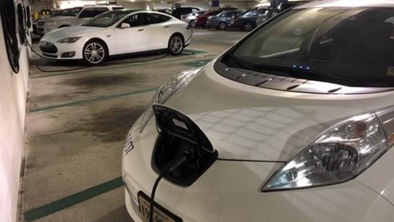 New electric car charging stations installed in 4 downtown Norfolk garages