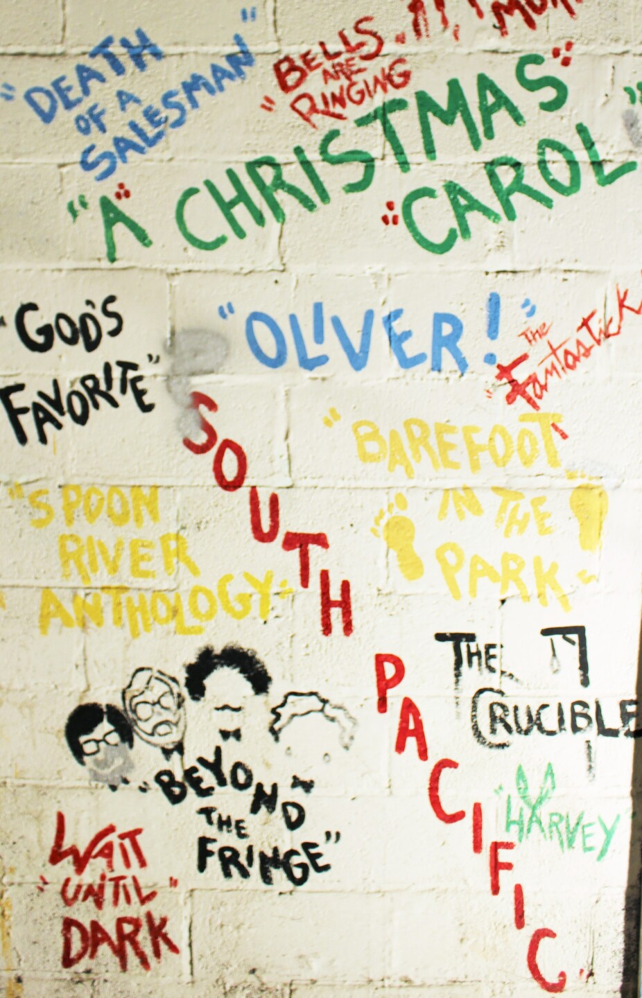2 - Community theater, productions stenciled on wall of the annex, which was removed in 2018..JPG
