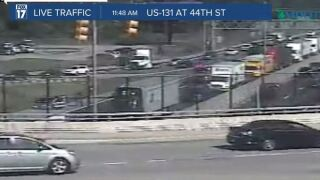 Traffic jam from jackknifed semi at 44th Street as seen on MDOT camera on US-131