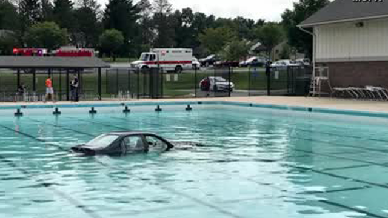 Driving lesson ends with crash and splash when a car ended up in a Maryland pool