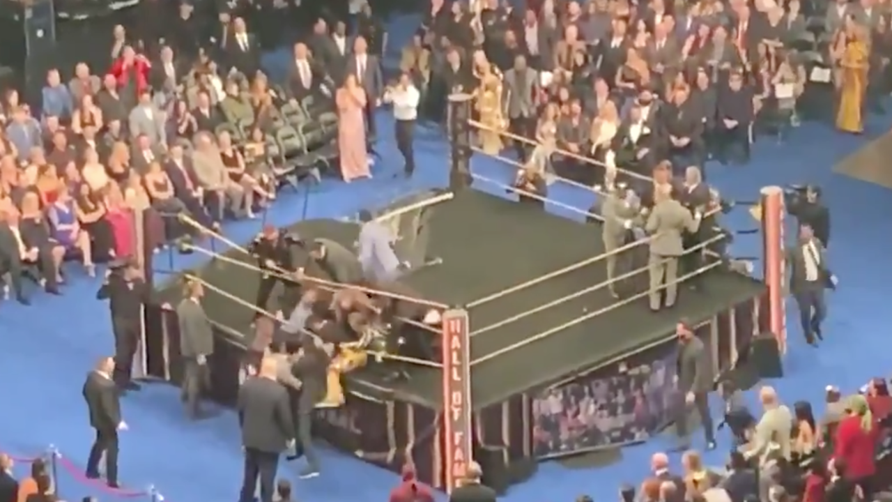 Pro wrestling legend Bret Hart attacked during WWE Hall of Fame speech
