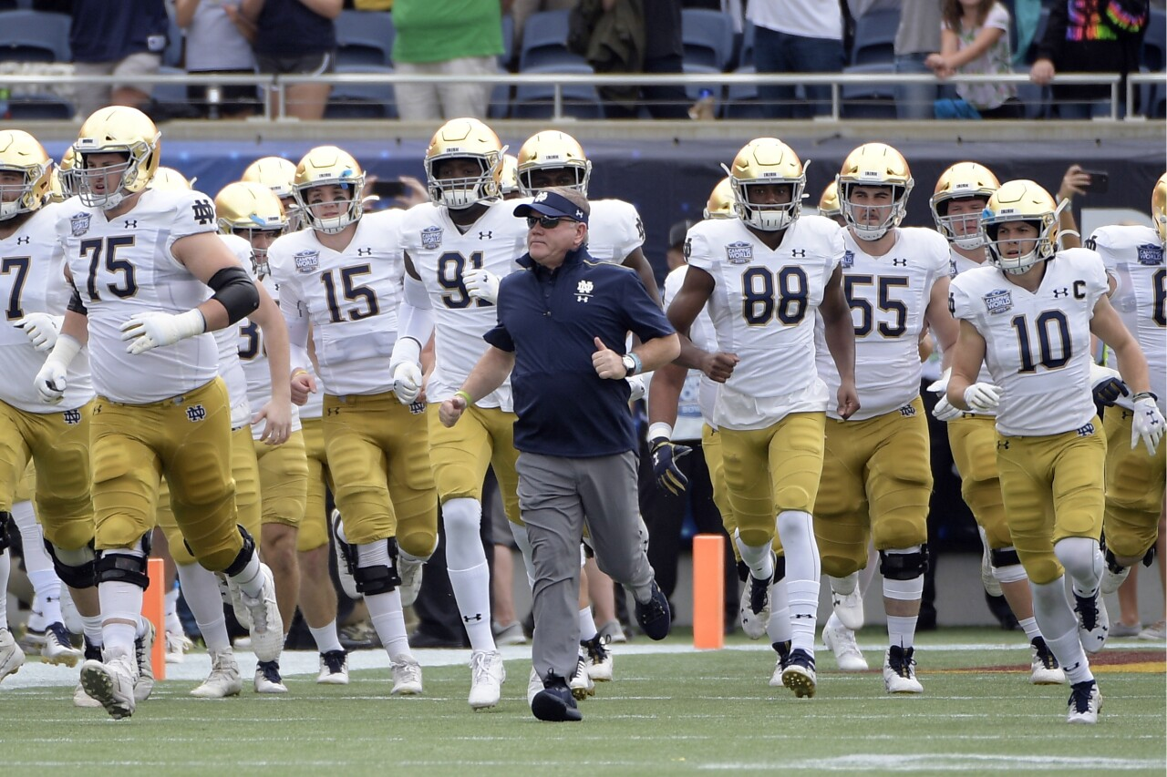 Notre Dame football team and head coach Brian Kelly before bowl game