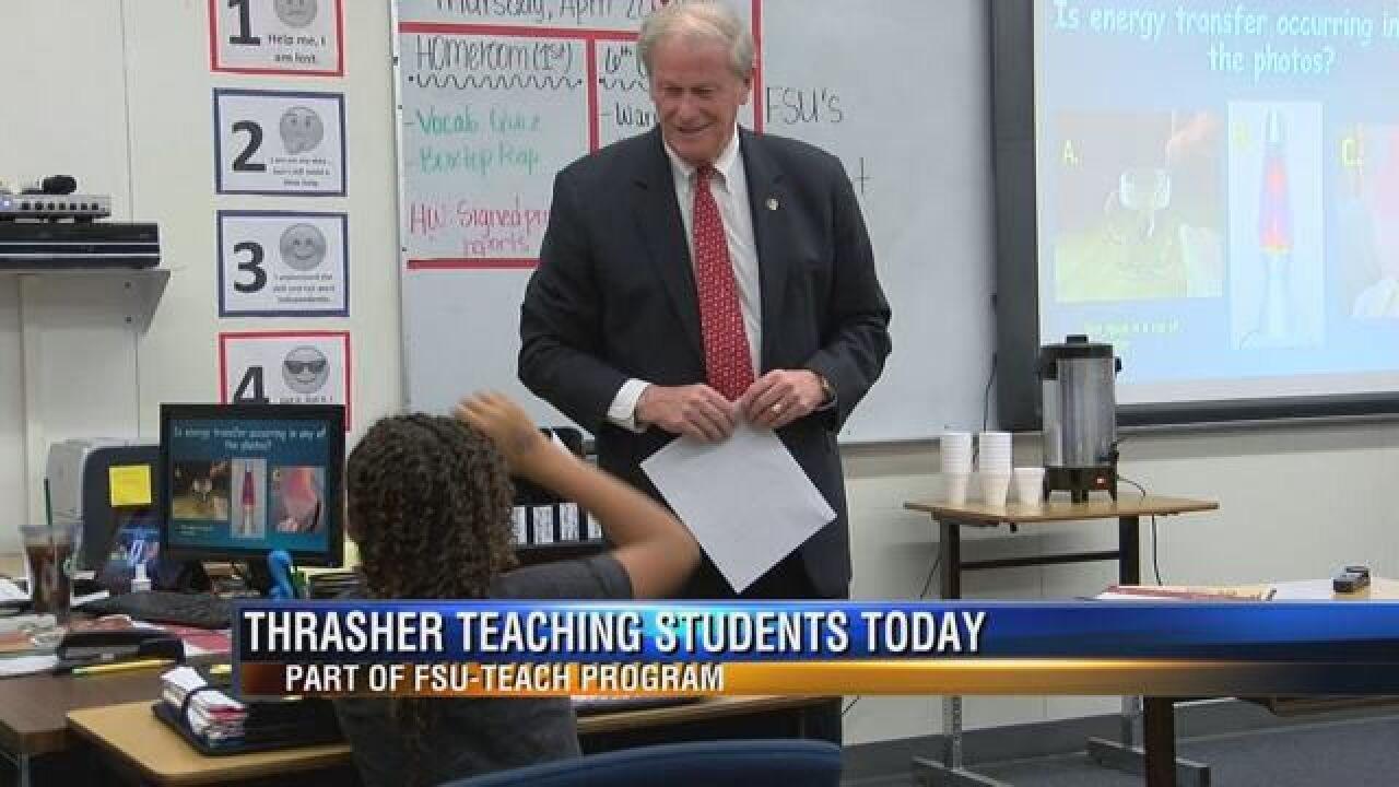 "John Thrasher Co-Teaches 6th Graders for ""FSU Teach Program"""