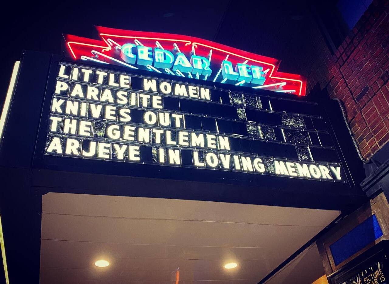 Marquee sign honoring his life. Photo by Mike Wendt, of the Greater Cleveland Film Commission.