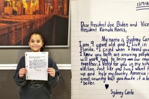 Florida girl, 9, writes letter to Joe Biden, Kamala Harris