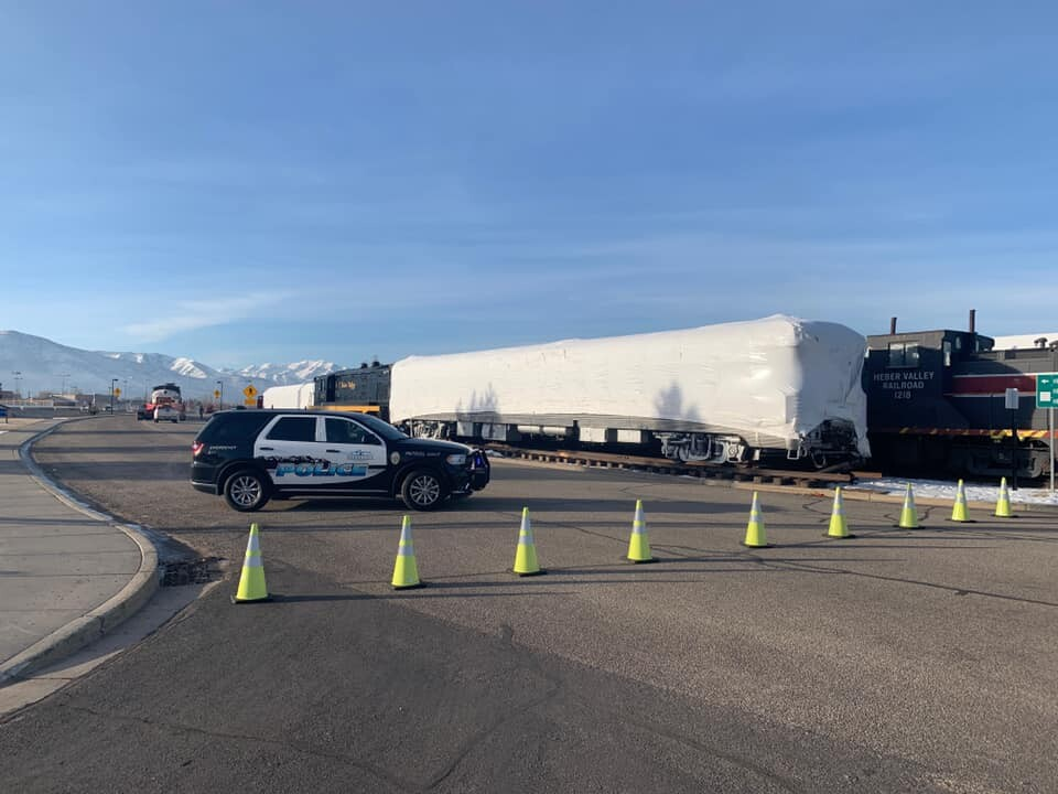 Photos: Road in Heber City closed while new locomotive is placed on railroadtracks