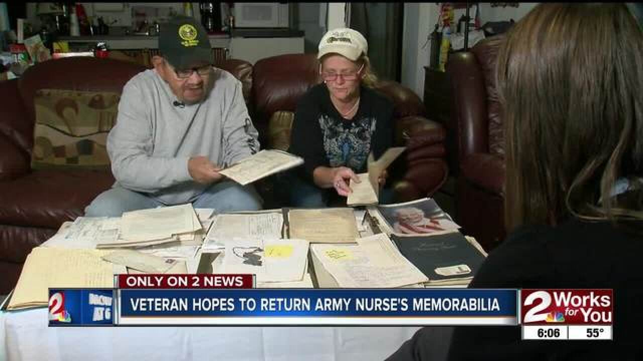 Vet hopes to return army nurse's memorabilia
